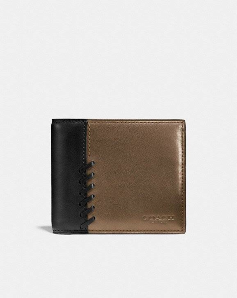 COACH  Rip And Repair Compact Id Wallet In Sport Calf Leather FATIGUE/BLACK