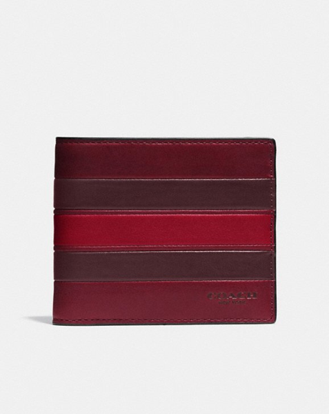 COACH  3-In-1 Wallet In Smooth Leather With Varsity Stripe INDIGO TERRACOTA