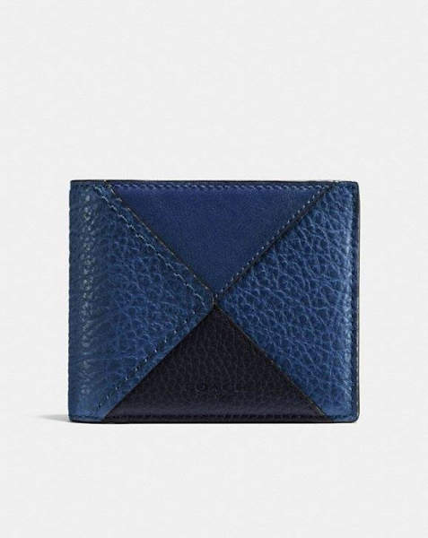 COACH  3-In-1 Wallet In Canyon Quilt Buffalo-Embossed Leather BLUE MULTI