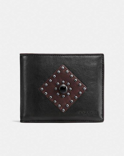COACH Western Rivets 3-In-1 Wallet In Sport Calf Leather BLACK