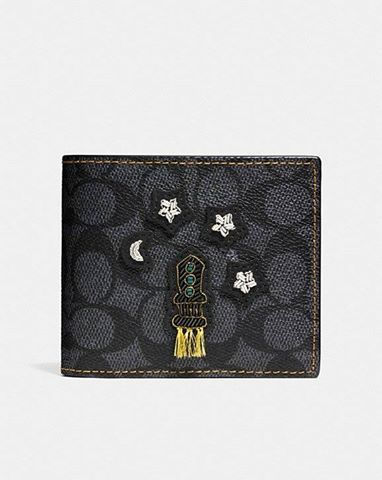 COACH  3-In-1 Wallet In Signature Coated Canvas With Embroidery CHARCOAL