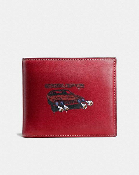 COACH  3-In-1 Wallet In Wild Car Print Leather CARDINAL