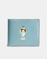 COACH  3-In-1 Wallet In Glovetanned Leather With Sundae STEEL BLUE