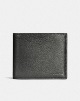 COACH  3-In-1 Wallet In Metallic Leather GRAPHITE METALLIC
